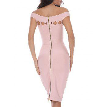 Bodycon Off Shoulder Cut Out Bandage Dress - S S