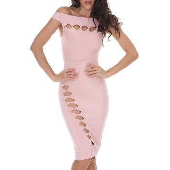 Bodycon Off Shoulder Cut Out Bandage Dress - PAPAYA S