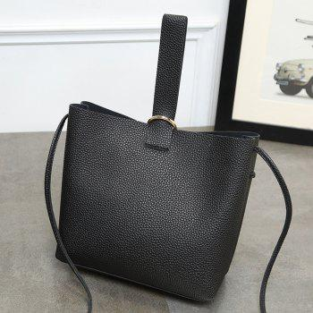 Faux Leather Grommet Handbag - BLACK