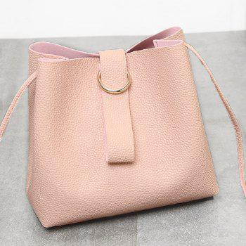 Faux Leather Grommet Handbag - PINK PINK