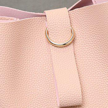 Faux Leather Grommet Handbag -  PINK