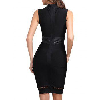 Lattice Cut Out Bodycon Bandage Dress - BLACK XS