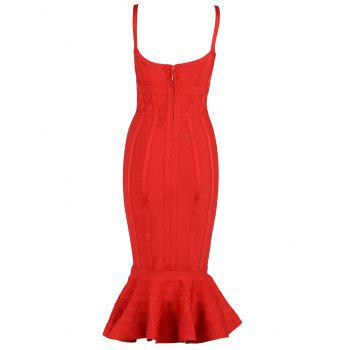 V-neck Mermaid Bodycon Slip Bandage Dress - RED M