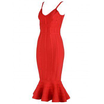 V-neck Mermaid Bodycon Slap Bandage Dress - Rouge S