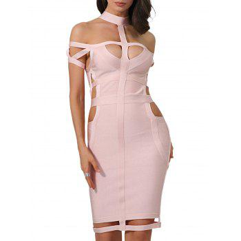 Cage Cut Out Bodycon Bandage Dress - XS XS