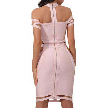 Cage Cut Out Bodycon Bandage Dress - PAPAYA PAPAYA