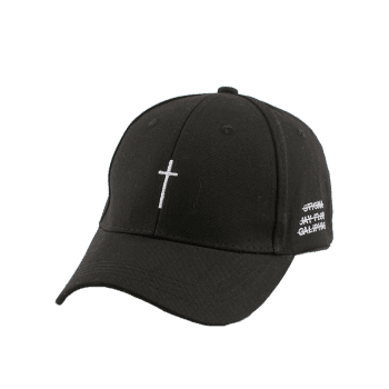 Small Cross Embroidered Baseball Hat with Tail - BLACK
