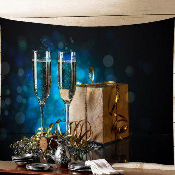 Christmas Goblet Print Tapestry Wall Hanging Art - DEEP BLUE W91 INCH * L71 INCH
