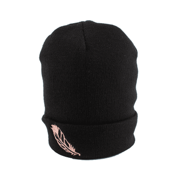 Feather Embroidered Flanging Knit Hat - BLACK