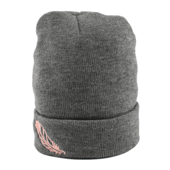 Feather Embroidered Flanging Knit Hat - GRAY