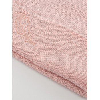 Feather Embroidered Flanging Knit Hat - PINK