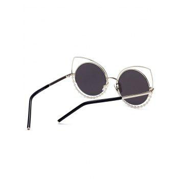 UV Protection Rhinestone Cat Eye Sunglasses - SLIVER FRAME/MERCURY LENS