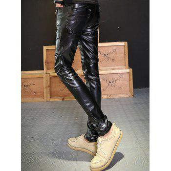 Skinny Zipper Embellished PU Leather Pants - BLACK 34