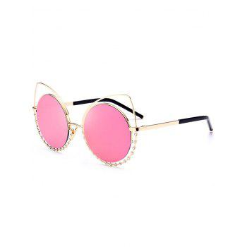 UV Protection Rhinestone Cat Eye Sunglasses - GLOD FRAME + PINK LENS GLOD FRAME / PINK LENS