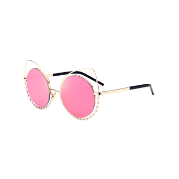 UV Protection Rhinestone Cat Eye Sunglasses -  GLOD FRAME / PINK LENS
