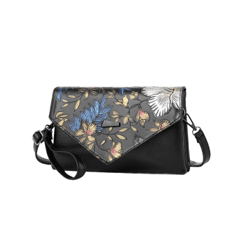 Embossage Faux Leather Crossbody Bag - multicolorcolore