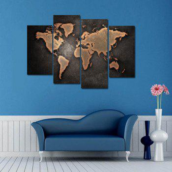 Vintage World Map Print Unframed Canvas Paintings