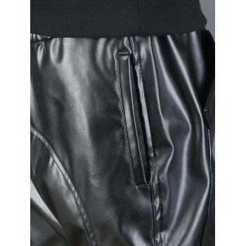 Beam Feet Drawstring Waist Faux Leather Pants - 34 34