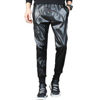 Beam Feet Drawstring Waist Faux Leather Pants - BLACK 34