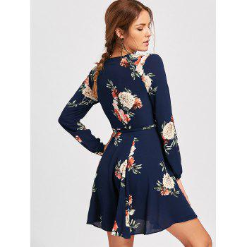 Belted Surplice Flower Print Mini Dress - Bleu Violet S