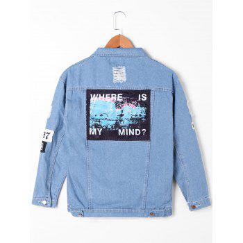 Veste en denim appliquée effilochée - Denim Bleu M