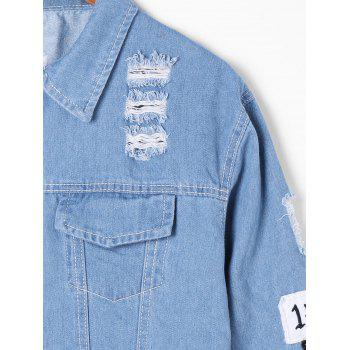 Veste en denim appliquée effilochée - Denim Bleu XL