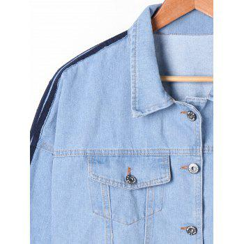 Flap Pocket Contraste Trim Denim Jacket - Denim Bleu 2XL
