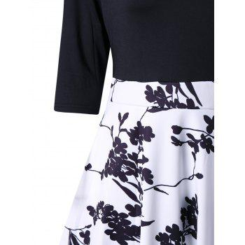 A Line V Neck Print High Waist Dress - BLACK 2XL