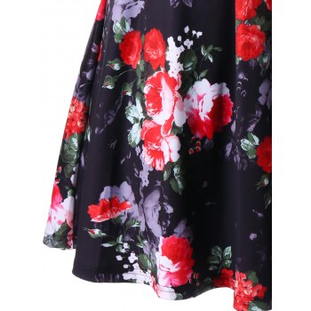 Floral V Neck High Waist A Line Dress - L L