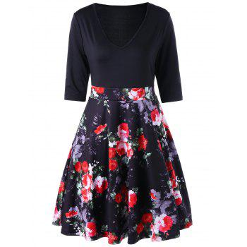 Floral V Neck High Waist A Line Dress - BLACK BLACK