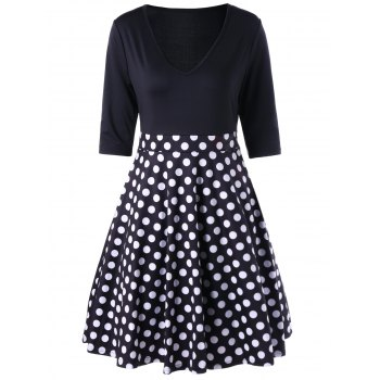 V Neck A Line Polka Dot Dress - BLACK BLACK
