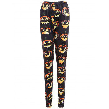 Plus Size Halloween Pumpkin Print High Waist Leggings