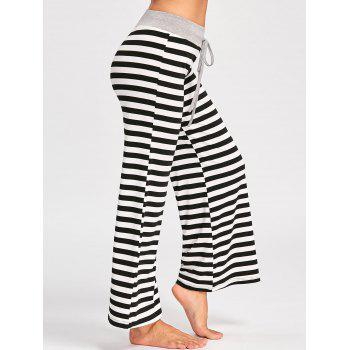 Drawstring Striped Jersey Palazzo Pants - BLACK STRIPE XL