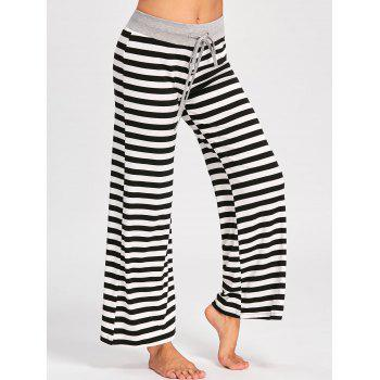 Drawstring Striped Jersey Palazzo Pants - BLACK STRIPE 2XL