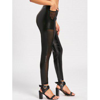 High Waist Sheer Mesh Insert Faux Leather Pants - BLACK BLACK