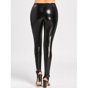 High Waist Sheer Mesh Insert Faux Leather Pants - L L