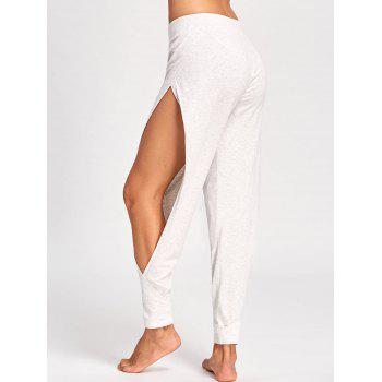 High Waisted Side Slit Harem Pants - LIGHT GRAY 2XL