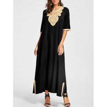 Embroidery Ankle Length Bohemian Dress - BLACK BLACK