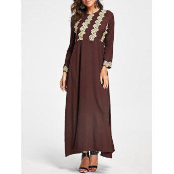 Embroidery Long Sleeve Party Evening Dress - TAN TAN