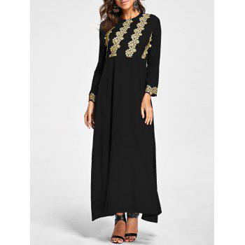 Embroidery Long Sleeve Party Evening Dress - BLACK BLACK