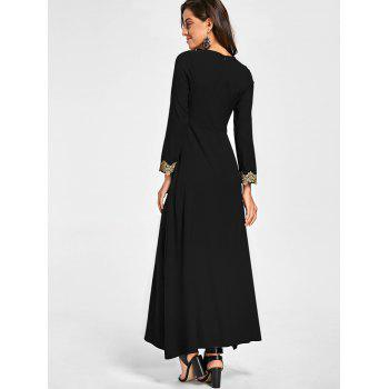Embroidery Long Sleeve Party Evening Dress - M M