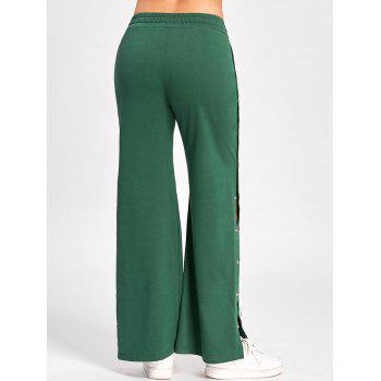 Side Slit Button Up Wide Leg Pants - GREEN 2XL