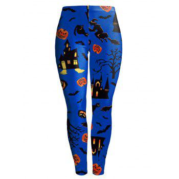 Pumpkin Castle Witch Halloween Leggings