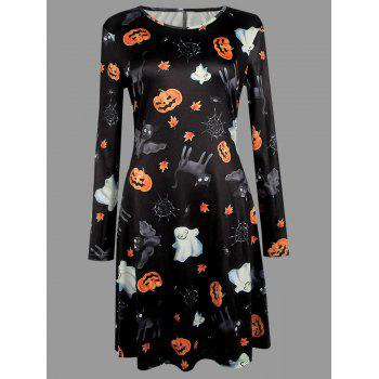 Plus Size Halloween Cat Bat Pumpkin Print Dress