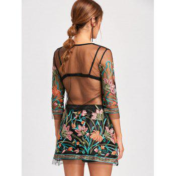 Embroidery Mesh Sheer Dress with Camisole - BLACK XL
