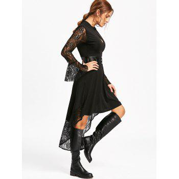 Flare Sleeve High Low Semi Formal Dress - BLACK M