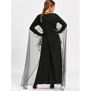 Halloween High Low Hem Capelet Maxi Dress - BLACK 2XL