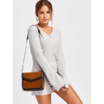 Textured Raw Hem Flare Sleeve Romper - GRAY L