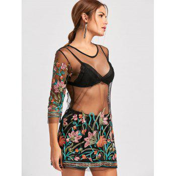 Embroidery Mesh Sheer Dress with Camisole - BLACK S