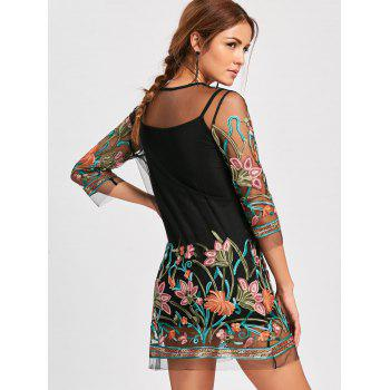 Embroidery Mesh Sheer Dress with Camisole - BLACK BLACK